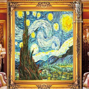 欧洲级别纯手绘油画装饰画油画家居装饰画梵高星空欧式美画正品高档