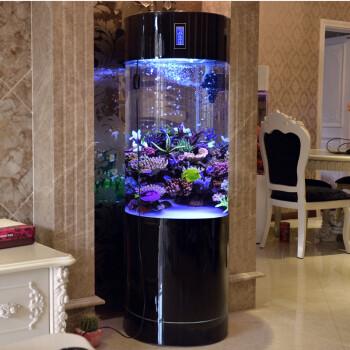 迪顺 家用客厅圆柱形鱼缸水族箱亚克力白色生态鱼缸创意欧式落地金