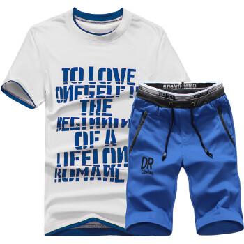 威雷斯 2015夏季新款青少年圆领T恤短裤运动套装男休闲运动服 蓝色上衣蓝裤子 XL