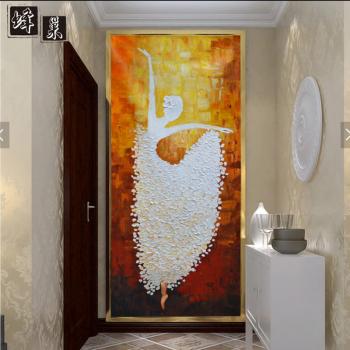 洛凌手绘3d立体油画 欧式玄关壁纸 走廊过道背景墙纸 芭蕾舞抽象壁画
