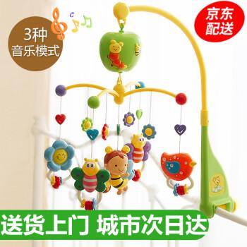 谷雨婴儿宝宝床铃玩具0-1岁新生儿幼儿床头摇铃0-3-6-12个月玩具安抚助眠音乐旋转礼物 婴儿玩具音乐床铃(绿色 多功能礼盒装)