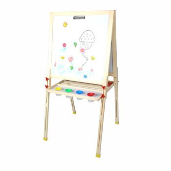 彩糖塘 实木儿童画板可升降画架双面磁性小黑板支架式画画玩具写字板套装 支持货到付款 天然环保免漆 D款105CM