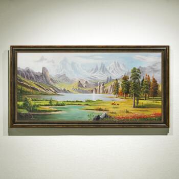 凤之舞 欧式油画手绘美式山水风景画沙发背景挂画壁画