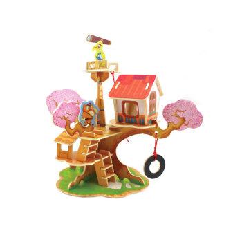 儿童益智玩具幼儿园手工拼装木质立体房子制作小屋模型3-6岁t了望台