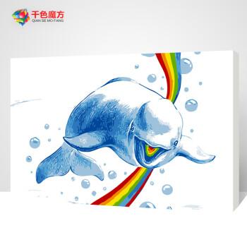 diy数字油画风景卡通动漫动物儿童简单艺术小清新手绘