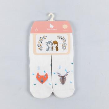 小小羊驼宝宝袜子儿童袜可爱ab袜卡通无骨缝合宝宝袜两双 白狐狸山羊