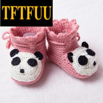 tftfuu婴儿毛线鞋子手工编织0-5个月新生儿6-12女宝宝