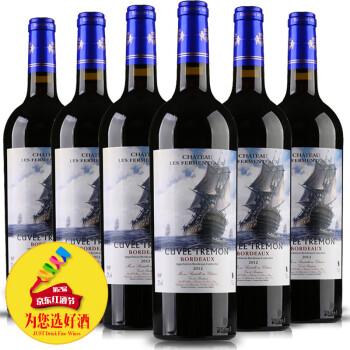【拍立减80】法国红酒波尔多原瓶进口AOC级亚马龙精选干红葡萄酒 750ml*6整箱装