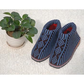 手工针织毛线鞋冬季高帮加厚保暖防滑男女毛线拖鞋棉鞋成品 青灰中国