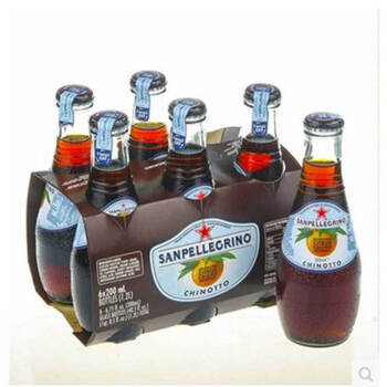 San Pelligrino圣培露果汁甜橙/柠檬/柑橘200ml*24瓶玻璃瓶整箱 柑橘