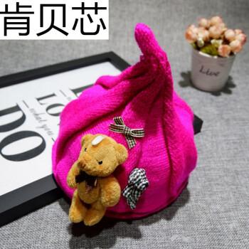 婴儿帽子冬可爱宝宝毛线尖尖奶嘴帽男童帽子潮韩版2017女帽子 小熊玫