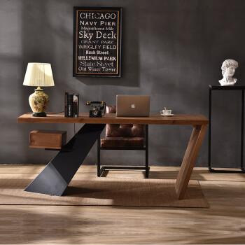 原木老板桌工业风复古 铁艺实木设计师办公桌个性电脑