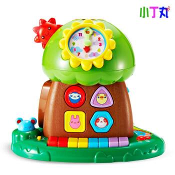 珠算琴键玩具婴幼儿2-4岁宝宝塑胶玩具动物连连看趣味塞积木 趣味小树