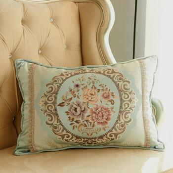 品质欧式长方形靠垫客厅皮沙发靠背抱枕简约布艺套子含芯大号圆柱枕