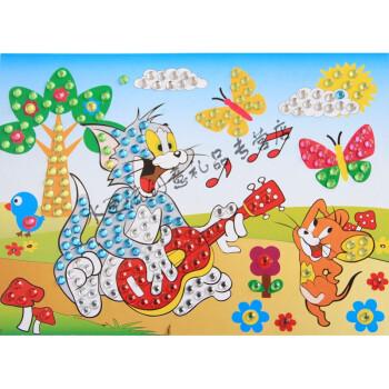 钻石贴画手工制作材料彩水晶diy粘贴水彩画玩具 hy钻石画17猫和老鼠