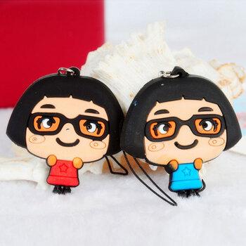 可爱卡通情侣手机挂件/吊饰(2个装)眼镜妹