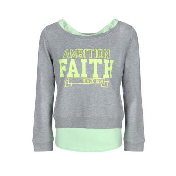 安踏ANTA女装 运动卫衣2015春季新款长袖套头衫针织两件套16518714 灰花灰/绿16518714-2 L(170/92A)