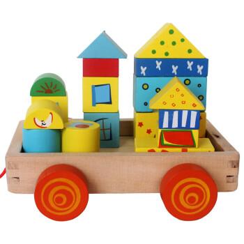 环保木质益智礼物玩具幼儿动手自已积木宝宝早教拖拉t六一儿童节小车小宝宝玩积木视频图片
