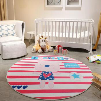 卡通儿童地毯 可爱公主房地毯 卧室床下地毯吊椅垫子圆形 可机洗 萌萌