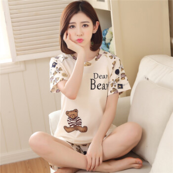 女睡衣夏季短袖韩版纯棉清新甜美可爱卡通宽松两件套装学生家居服