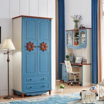 红林梦 地中海3门家具三门男孩加固柜门白色四门定做衣橱推拉门衣柜风图片