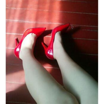 春夏新款性感夜店高跟鞋女细跟韩版尖头工作鞋浅口女单鞋红色婚鞋