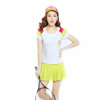 初禾2015春夏新款套头短袖短裙T恤运动服运动套装休闲两件套女装网球服JA12K985 白拼荧光绿 XL