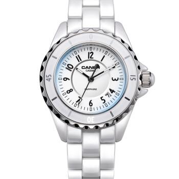 卡斯曼(CASIMA)女士手表时尚夜光防水女表高端女式陶瓷表蓝宝石英表 时尚奢华6702-CW8 常规款