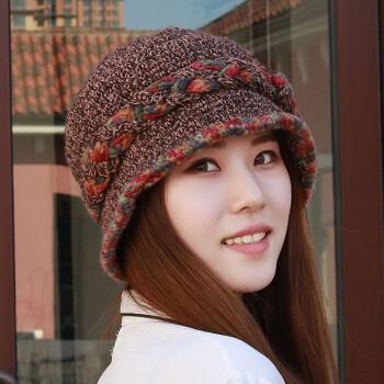 帽子女冬天加绒针织毛线帽 韩版纯手工编织保暖羊毛帽