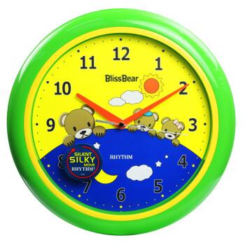 丽声(rhythm)挂钟表客厅卧室静音扫秒可爱小熊12英寸儿童专用挂钟动力