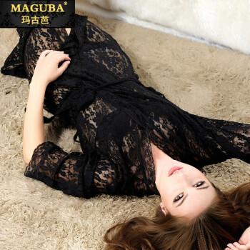 maguba)情趣长袖睡裙透视蕾丝酒店套装黑色睡袍火辣激情内衣睡衣品牌性感哪里国内情趣最好图片