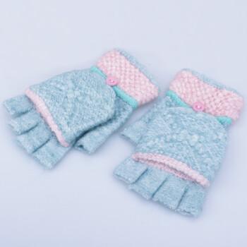 韩版可爱手套女士冬天加厚保暖针织毛线手套学生写字半指翻盖手套