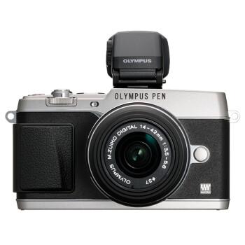 奥林巴斯(OLYMPUS)E-P5-1442-2RVK银色套机 (VF-4电子取景器 五轴防抖 可翻转屏 WIF无线分享)
