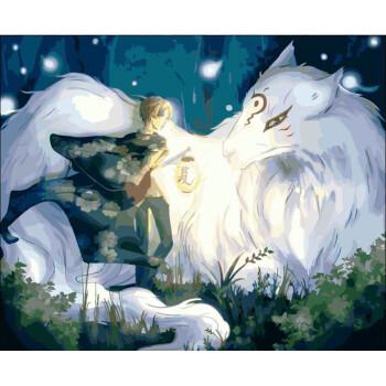 卧室动漫卡通动物大幅手绘装饰画龙猫人物花卉卧室手绘装饰画二代淡彩