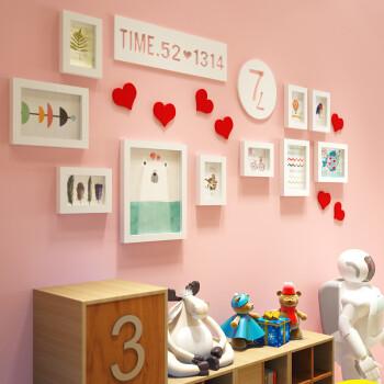 可爱卡通照片墙小女孩爱心相片墙环保实木相框宝宝儿童房卧室装饰