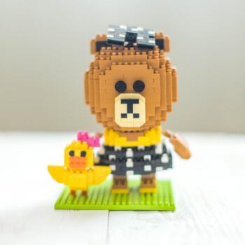 顾馨 微钻石积木小颗粒益智拼装兼容乐高布朗熊儿童玩具line莎莉鸡