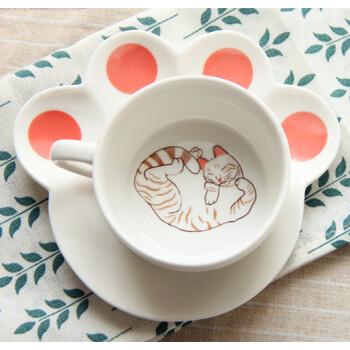 创意小猫咪马克杯 早餐牛奶可爱卡通咖啡杯子 带托盘陶瓷杯碟套装