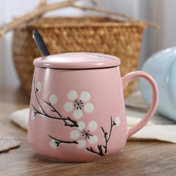 创意手绘可爱彩色家用陶瓷马克杯带盖带勺子杯子水杯咖啡杯牛奶杯ms