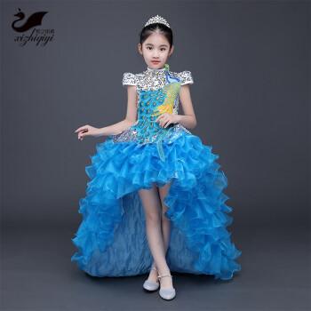 公主裙女童走秀礼服主持人花童裙小孩婚纱长裙拖尾儿童钢琴表演服图片