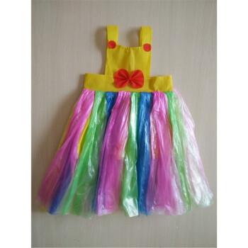 手工制作环保服装儿童时装秀演出服幼儿园走秀服装女公主裙子装 黄色