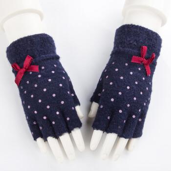 冬季手套女韩版可爱学生卡通加厚保暖五指针织毛线露半指百搭 藏蓝色