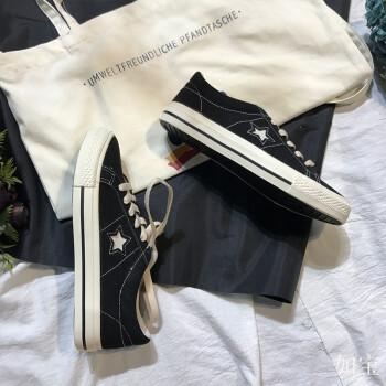 chic韩风鞋子女秋原宿韩版ulzzang布鞋ins帆布鞋学生百搭黑色鞋子图片