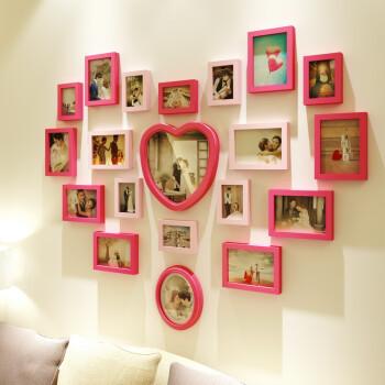 创意实木客厅婚纱照照片墙爱心形现代儿童卧室相片墙相框墙组合 组合图片