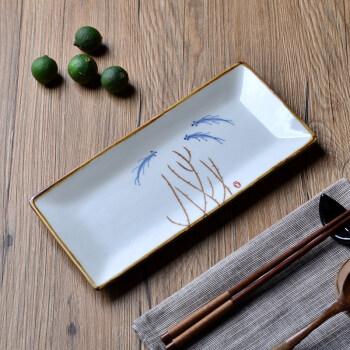 日式和风长方盘 复古长条盘子鱼盘长方形 陶瓷器餐具