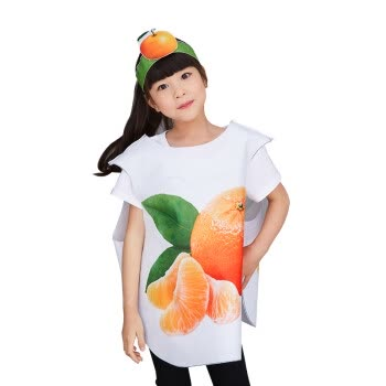 儿童环保演出服幼儿蔬菜水果动物造型手工diy时装秀子表演服装 橘子