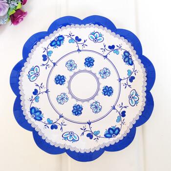 青花瓷一次性纸盘纸碟 盘子 8个 18cm 纸盘 青花瓷 款式二