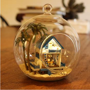 玻璃球手工制作小房子拼装模型创意生日礼物女生 爱琴