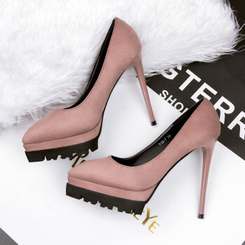 高跟鞋细跟性感女鞋秋季灰色黑色浅口绒面女单鞋12cm 卡其色【12厘米