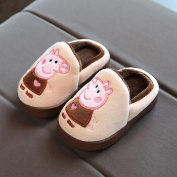 东淇儿童棉拖鞋秋冬可爱男女童子款中大童防滑软底小孩拖鞋x3 d26小猪