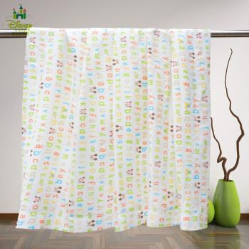 迪士尼婴儿被子纱布薄被空调被 儿童纱布夏凉被浴巾 白色字母图140*110cm